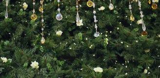 Fondo del primer del árbol de abeto de la Navidad con una fila de los colgantes cristalinos como decoraciones en el top Imagenes de archivo