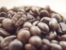 Fondo del primo piano dei chicchi di caffè Fotografie Stock