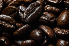 Fondo del primo piano dei chicchi di caffè Immagine Stock Libera da Diritti