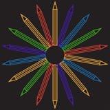 Fondo del profilo della matita, illustrazione della cancelleria Fotografia Stock