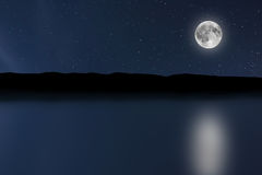 Fondo del río del cielo nocturno con la luna y las estrellas Luna Llena Imágenes de archivo libres de regalías