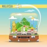 Fondo del recorrido Maleta con las señales de Malasia ilustración del vector