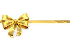 Fondo del regalo de la cinta del arco del oro Imágenes de archivo libres de regalías