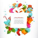 Fondo del regalo de la Navidad con los elementos de Navidad Imagen de archivo libre de regalías