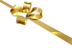 Fondo del regalo de la Navidad del arco del oro Foto de archivo libre de regalías
