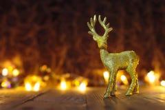Fondo del reno de la Navidad con las luces Foto de archivo libre de regalías