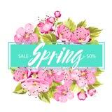 Fondo del resorte con las flores de sakura stock de ilustración