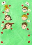 Fondo del resorte con seis niños Imágenes de archivo libres de regalías