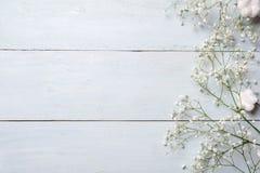 Fondo del resorte Flores rústicas blancas en la tabla de madera azul Maqueta de la bandera para la mujer o el día de la madre, pa fotos de archivo