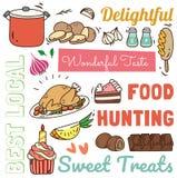 Fondo del restaurante con diverso garabato de la comida y de la bebida ilustración del vector