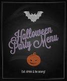Fondo del restaurante de la pizarra del menú de Halloween Imagen de archivo