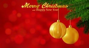 Fondo del rojo de la Feliz Navidad Imágenes de archivo libres de regalías
