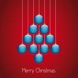 Fondo del rojo de la guita del árbol de las bolas de la Navidad Imágenes de archivo libres de regalías