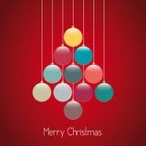 Fondo del rojo de la guita del árbol de las bolas de la Navidad Imagen de archivo libre de regalías