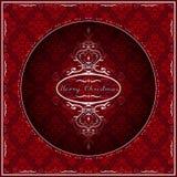 Fondo del rojo de la tarjeta de felicitación de la Navidad Remolino blanco de lujo Vector Imagenes de archivo