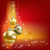 Fondo del rojo de las bolas y de las estrellas de la Navidad Imagen de archivo libre de regalías