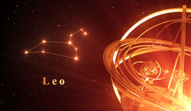 Fondo del rojo de Leo And Armillary Sphere Over de la constelación del zodiaco Foto de archivo libre de regalías