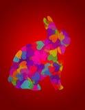 Fondo del rojo del conejo de conejito de los corazones del día de tarjetas del día de San Valentín ilustración del vector