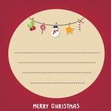 Fondo del rojo del cuadro de texto del ciclo de la Navidad de la tarjeta Ilustración del vector eps10 Imagenes de archivo