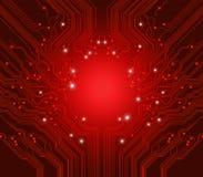 Fondo del rojo del vector de la tarjeta de circuitos Fotografía de archivo libre de regalías