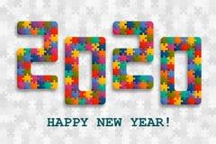 fondo 2020 del rompecabezas con muchos pedazos coloridos Diseño de tarjeta de la Feliz Año Nuevo Plantilla abstracta del mosaico stock de ilustración