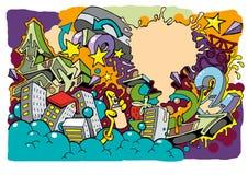 Fondo 01 del rullo del pattino dei graffiti royalty illustrazione gratis