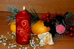 Fondo del ` s de la Navidad o del Año Nuevo Nueva vela de la Navidad con estafa Fotos de archivo libres de regalías