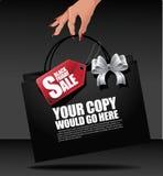 Fondo del sacchetto della spesa della tenuta della mano di Black Friday Fotografie Stock Libere da Diritti
