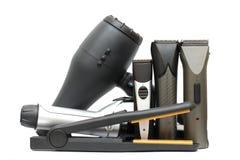 Fondo del salón de belleza - herramientas de los peluqueros Fotografía de archivo