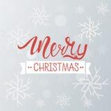 Fondo del saludo de la Feliz Navidad Plantilla del invierno del día de fiesta con los copos de nieve y el efecto del bokeh Ilustr Imagen de archivo libre de regalías