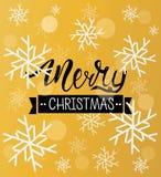 Fondo del saludo de la Feliz Navidad Plantilla del invierno del día de fiesta con los copos de nieve y el efecto del bokeh Ilustr Fotografía de archivo