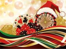 Fondo del saludo del casino de la Navidad Imágenes de archivo libres de regalías