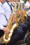 Fondo del saxofón Foto de archivo