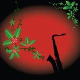Fondo del saxofón del día de fiesta Fotografía de archivo