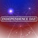 Fondo del sello del Día de la Independencia con colores y fuegos artificiales de la bandera americana el 4 de julio, ejemplo Foto de archivo libre de regalías