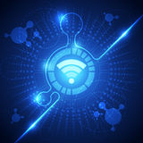 Fondo del sistema de la tecnología de Wifi, ejemplo del vector Foto de archivo libre de regalías