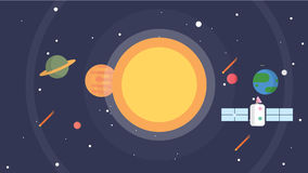 Fondo del sistema solare e dello spazio illustrazione di stock