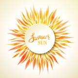 Fondo del sol del verano de la acuarela stock de ilustración