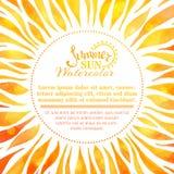 Fondo del sole di estate dell'acquerello Fotografie Stock