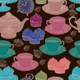 Fondo del té de la vendimia. modelo inconsútil Fotografía de archivo