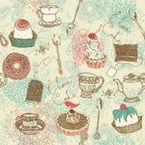 Fondo del té y de la torta Foto de archivo libre de regalías