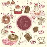 Fondo del té y de la torta Fotografía de archivo libre de regalías