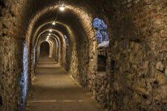 Fondo del túnel de la textura de la piedra y de las paredes de ladrillo Imagen de archivo libre de regalías
