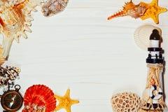 Fondo del tablón con las cáscaras y el faro del mar imágenes de archivo libres de regalías