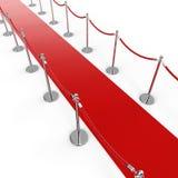 Fondo del tappeto rosso con la corda del sostegno della barriera Fotografie Stock Libere da Diritti