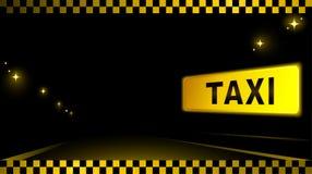 Fondo del taxi con el coche y la luz de la ciudad Imágenes de archivo libres de regalías