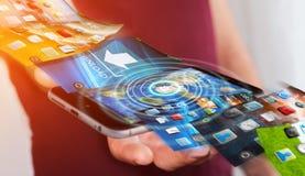 Fondo del telefono di commutazione dell'uomo d'affari sul rende moderno del dispositivo 3D Immagine Stock
