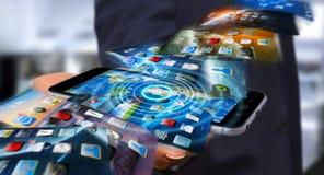 Fondo del telefono di commutazione dell'uomo d'affari sul rende moderno del dispositivo 3D Fotografia Stock