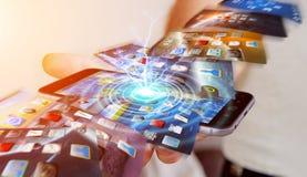 Fondo del telefono di commutazione dell'uomo d'affari sul rende moderno del dispositivo 3D Fotografie Stock