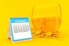 Fondo del tesoro con il calendario Fotografie Stock